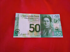 Clydesdale Bank £50 Banknote W over HU 051717