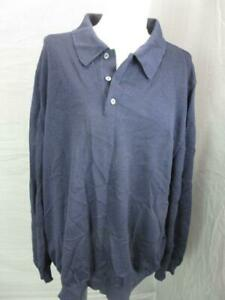 BROOKS SIZE XL MENS NAVY 100% MERINO WOOL LONG SLEEVE POLO PULLOVER T349