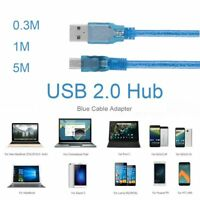 Professional Connector USB 2.0 Hub Male To Male Blue Cable Adapter Mini 5pin