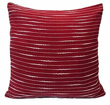 "Maroon White Stripe Cushion Covers 16"" 40cm Sofa Scatter Soft Cotton Washable"