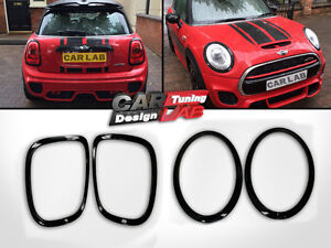 Glossy Black Tail Light+Headlight Overlay Frame Cover For MINI COOPER S F56 Mk3
