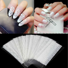 20Pcs White Lace Flower Nails Transfer Foil Beauty Nail Art Foil Stickers Decals