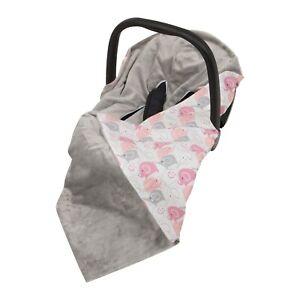 New Girl Pink Elephants Car Seat Baby Wrap / Car Seat Blanket / Grey & Pink Wrap