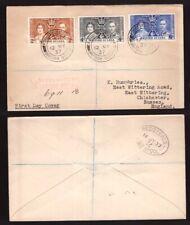 British Guyana, 1937 Coronation set on registered fdc to England       -BO58