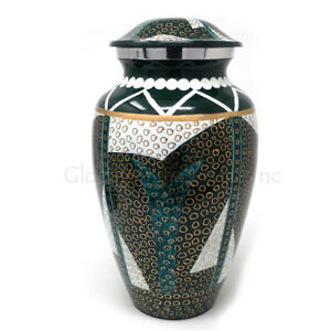 Cremation urn Tribal Pattern Aluminium Large for Ashes