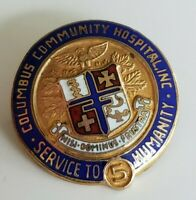 Vtg Gold Filled Columbus Community Hospital 5 Yrs Service Pin by Pollack
