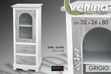 VETRINA VETRINETTA H80*32*26 ANTA 2 CASS LEGNO GRIGIO ARGENTO SHABBY CHIC 641503