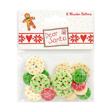 DEAR SANTA BY HELZ CUPPLEDITCH WOODEN BUTTONS EMBELLISHMENTS FOR CARDS/CRAFTS