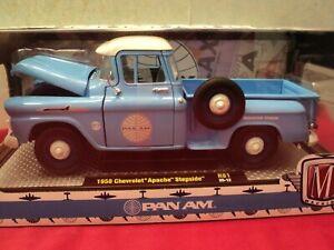 M2 Machines 1958 Chevrolet Apache stepside  NIB  1:24 Scale  Pan Am  logo