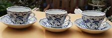 3 large cups and saucers porcelain blue white zwiebelmuster blue onion Vintage