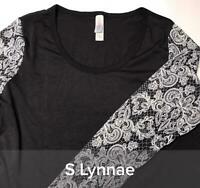 NWT Lularoe Size Small Black w White Pattern Sleeves Women's Lynnae Shirt Top