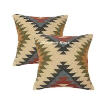 2 set Indian Jute Kilim Cushion Cover Decorative Rug Pillow Dorm Decor 1118-BB