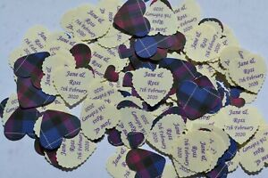 PRIDE OF SCOTLAND TARTAN TABLE CONFETTI Personalised with your Names and Date