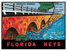Florida Keys Overseas Highway   Vintage 1950's Style  Travel Decal Sticker