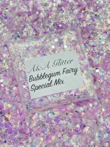 Nail Art Glitter (Bubblegum Fairy) Chunky Cosmetic Glitter 5g Bag