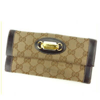 Gucci Wallet Purse Long Wallet G logos Beige Brown Woman Authentic Used Y5511