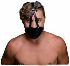 PU Leather FACE MASK BALL GAG Harness half head strap muzzle adult mouth cover