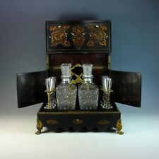 Antique Boulle Inlaid Wood and Mother of Pearl Tantalus Cave a Liqueur