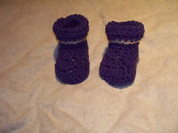 crochet 0-3 months baby bluw and grey booties 0-3 months