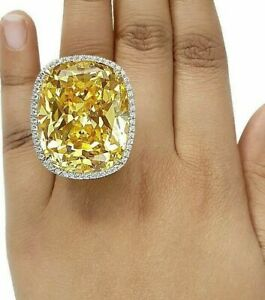 925 Sterling Silver Huge Cocktail Ring 100ct Yellow Cushion Cocktail Ring Halo -