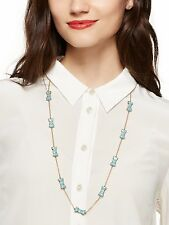 kate spade 'TAKE A BOW' long necklace nwt HYDRANGEA BLUE LIGHT STATION SCATTER