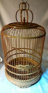 """Vintage Asian Bamboo Bird Cage Round Carved Chinese Wooden 20"""" x 11"""" Ornate"""