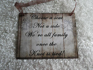 """Wood Rustic Look Wedding Sign Gift Plaque Wall Hanging """"Choose a Seat..."""""""