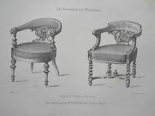 Fauteuis de Bureau vieux bois GRAVURE le MAGASIN de MEUBLES Victor QUETIN XIXéme