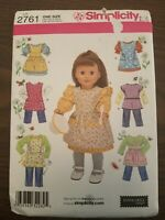 "Simplicity 2761 Doll 18"" Pattern Pants, Jumper, Apron Elaine Heigl Design UNCUT"