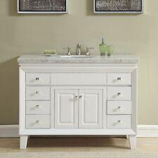48-inch Off White Carrara Marble Top Bathroom Vanity Single Sink Cabinet 0318W