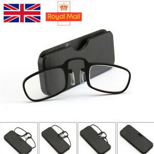 Mini Nose Clip Reading Glasses Unisex Ultra Thin With Case Optics Wallet UK