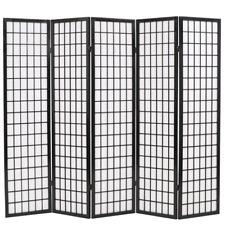 "Folding 5-Panel Room Divider Japanese Style 78.7""x66.9"" Black"