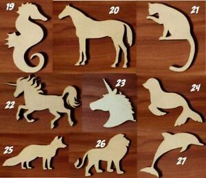 Animals Various sizes Laser cut MDF wooden Craft Set Shape Tags Embellishment v3