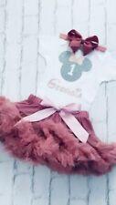Girls Personalised 1st Birthday Outfit Tutu Skirt Cake Smash Minnie Dusky Pink
