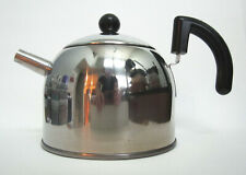 CHINESE TEA KETTLE, STAINLESS STEEL, BLACK TRIM, CHINESE CHARACTERS -WATER LEVEL
