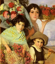 Oil painting edouard ferrer comas - flower gatherers children young girls canvas