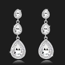 Largo Pendientes De Cristal Novia Diamante De Imitación Diamante Imitacion Plata