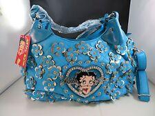 New Purses & Handbags Betty Boop Turquoise Hobo Bag with Rhinestone Florets