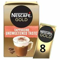 3x Nescafe Gold Cappuccino Unsweetened 8 Sachets 113.6G ***FREE UK DELIVERY***