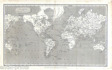 Weltkarte - Worldmap - Kuperstichkarte - Map 1807 Mercator-Projektion