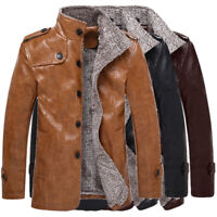 Winter Motorcycle Men Warm Jacket Leather Coat Fur Parka Fleece Jacket Slim Coat