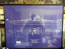 Bismarck , German battleship ( reproduction)  blue prints, framed .