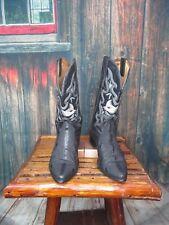 Men's Black Rodeo Rider Ostrich/Exotic Skin Western Cowboy Boots Sz:8.5
