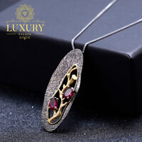 Natural Rhodolite Garnet Handmade Solid 925 Silver Branch Pendant Necklace