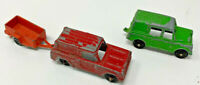 Lot of 3 Vintage TOOTSIETOYS Green Land Rover Red CAR & Orange Trailer #19-1897G