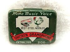More details for chicken gramophone-vintage gramophone needles tin-still sealed with contents
