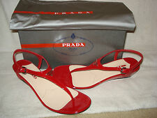 100% AUTHENTIC NEW WOMEN PRADA RED PATENT WEDGE SANDALS US 10.5