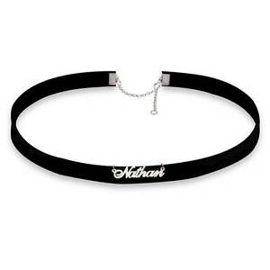Personalized Any Name Choker Style Necklace - Custom Sterling Silver Nameplate