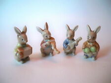 Rabbit Ceramic Figurines Animals Playing Musical Insterments 4 in all
