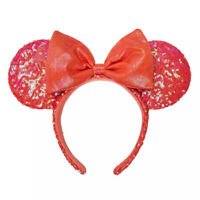 Disney Parks Coral Minnie Mouse Sequined Bow Ears Headband